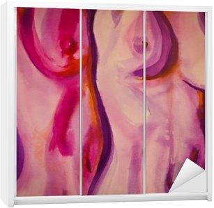 Nálepka na Skříň Kresba, malba nahé pár v růžové