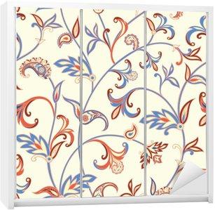 Nálepka na Skříň Květinový vzor bezešvé. Flower spirála pozadí. Arabský ornament s fantastickými květy a listy.