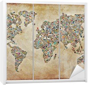 Nálepka na Skříň Mapa světa fotografie, vintage textury