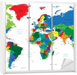 Nálepka na Skříň Mapa světa-země