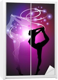 Nálepka na Skříň Moderní gymnastika - Ribbon