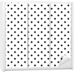Nálepka na Skříň Monochromatický, černá a bílá abstraktní kříže bezešvé podtisk.