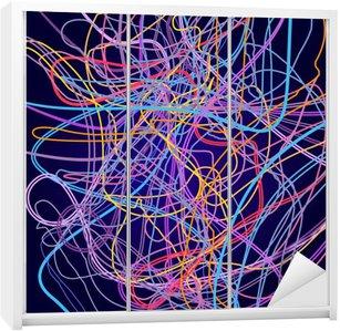 Nálepka na Skříň Neonové linky, abstraktní kompozice, světlé pozadí, spleť barevných čar, vektorové design umění