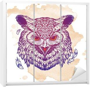 Nálepka na Skříň Owl skica izolované na pozadí grunge