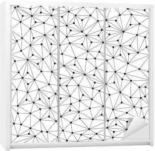 Nálepka na Skříň Polygonální pozadí, bezešvé vzor, čáry a kruhy