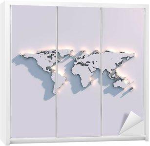 Nálepka na Skříň Relief mapa světa na zeď