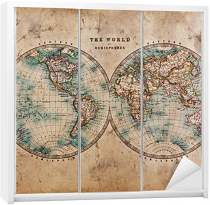 Nálepka na Skříň Stará mapa světa v hemisfér