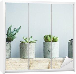 Nálepka na Skříň Sukulenty v DIY betonu hrnci. Skandinávský interiér pokoje výzdoba