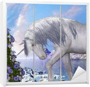 Nálepka na Skříň Unicorn a Blue Bell květiny