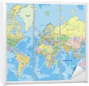 Nálepka na Skříň Velmi podrobné satelitní politický svět se označování.