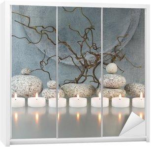 Nálepka na Skříň Větve, kameny, svíčky