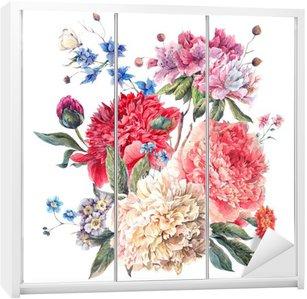 Nálepka na Skříň Vintage květinové pohlednici s květinové pivoňky