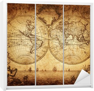 Nálepka na Skříň Vintage mapa světa 1733