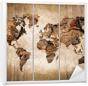 Nálepka na Skříň Wood mapa světa, vintage textury