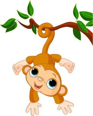 Nálepka na Stěny Baby opice na stromě