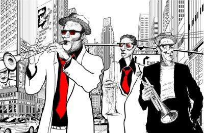 Nálepka na Stěny Jazzová kapela v ulici New Yorku