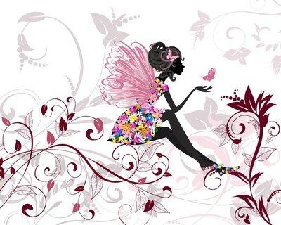 Nálepka na Stěny Květinová víla s motýly