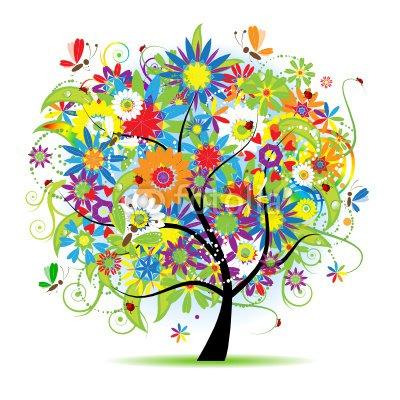 Nálepka na Stěny Květiny strom krásná