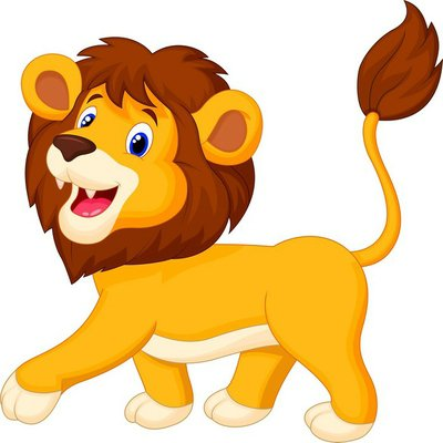 Nálepka na Stěny Lion cartoon walking