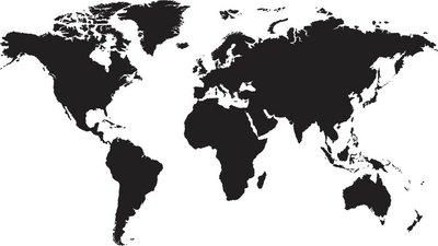 Nálepka na Stěny Mapa světa izolovaných na bílém pozadí