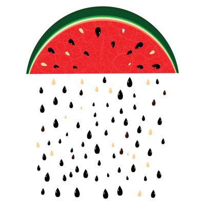 Nálepka na Stěny Meloun déšť