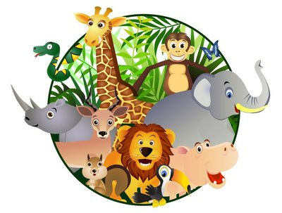 Nálepka na Stěny Safari karikatura