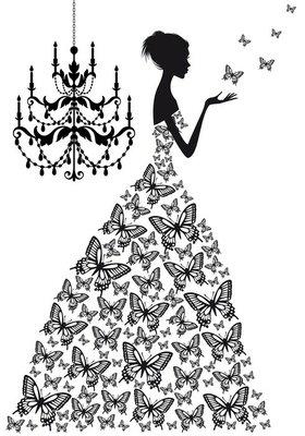 Nálepka na Stěny Žena s motýly, vektor