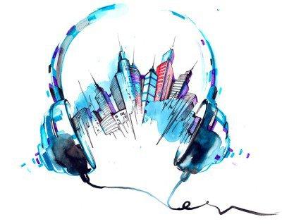 Nálepka na Stěny Zvuky města