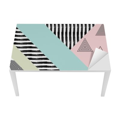 Nálepka na Stůl a Pracovní Stůl Abstrakt ručně malovaná geometrický vzor