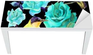 Nálepka na Stůl a Pracovní Stůl Akvarel ptáci na modré růže
