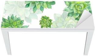 Nálepka na Stůl a Pracovní Stůl Akvarel šťavnatá vzor na bílém pozadí