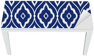 Nálepka na Stůl a Pracovní Stůl Bezešvé indigově modré a bílé vintage perský ikat vzor