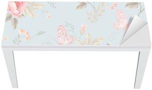 Nálepka na Stůl a Pracovní Stůl Bezešvé květinový vzor s růžemi a motýly
