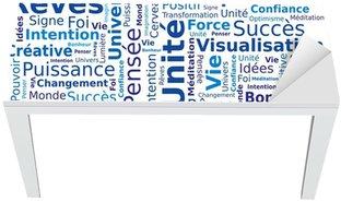 Nálepka na Stůl a Pracovní Stůl Cloud slov - Pozitivní myšlení ve francouzštině