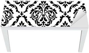 Nálepka na Stůl a Pracovní Stůl Damašek černá a bílá květinové bezproblémové vzorek