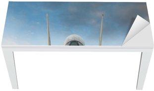 Nálepka na Stůl a Pracovní Stůl F-14 stíhačky na palubě letadlové lodi při pohledu zepředu