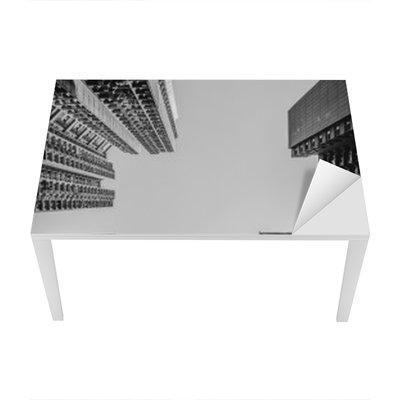 Nálepka na Stůl a Pracovní Stůl Hong Kong panoráma černé a bílé Tone