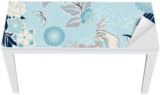 Nálepka na Stůl a Pracovní Stůl Kimono pozadí s jeřábem a květiny