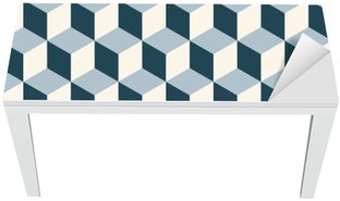 Nálepka na Stůl a Pracovní Stůl Klasické kostky 3d podtisk. Retro vektoru vzor.