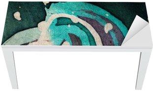 Nálepka na Stůl a Pracovní Stůl Květina, horký batikování, pozadí textury, ruční práce na hedvábí, abstraktní umění surrealismus