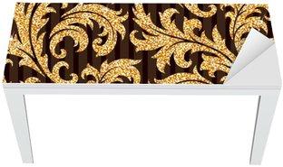 Nálepka na Stůl a Pracovní Stůl Květinové zlatý tapety
