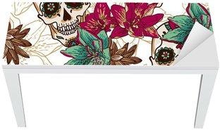 Nálepka na Stůl a Pracovní Stůl Lebka, Srdce a květiny bezešvé pozadí
