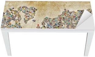 Nálepka na Stůl a Pracovní Stůl Mapa světa fotografie, vintage textury
