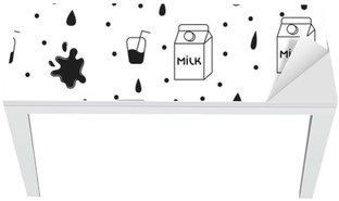 Nálepka na Stůl a Pracovní Stůl Mléko a cookie bezešvé vektoru vzor. Dairy zábava černé a bílé vzor s mlékem kartonu, mléko a šplouchnutí kapky na bílém.