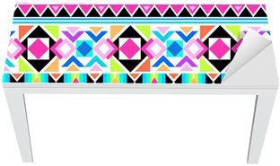 Nálepka na Stůl a Pracovní Stůl Neon aztécký tisk ~ bezproblémové pozadí