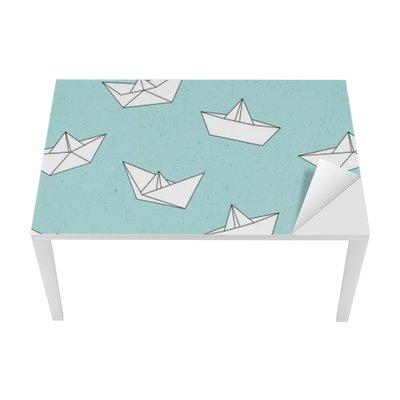 Nálepka na Stůl a Pracovní Stůl Papír loď vzor