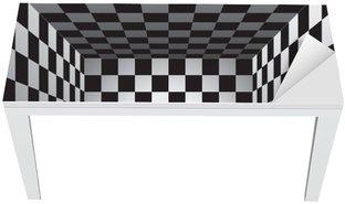 Nálepka na Stůl a Pracovní Stůl Plaid pokoj, černé a bílých krvinek, 3d šachovnice, vektor design pozadí