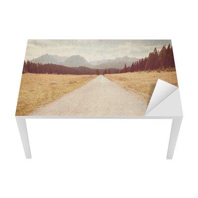 Nálepka na Stůl a Pracovní Stůl Silnice na horách - Vintage image