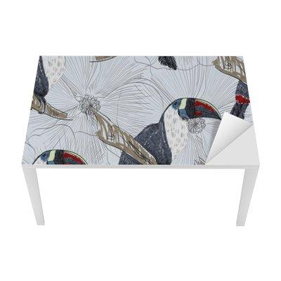 Nálepka na Stůl a Pracovní Stůl Vektor skica papouška s květinami. Ručně kreslenými ilustrační