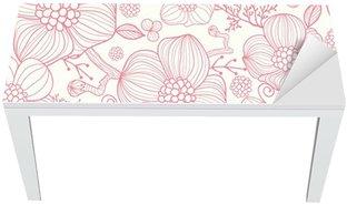 Nálepka na Stůl a Pracovní Stůl Vektorové červené květy PÉROVKY elegantní bezešvé vzor na pozadí